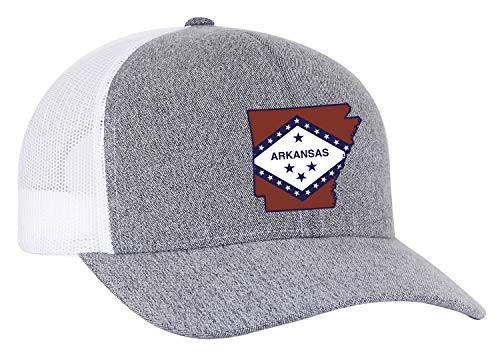 Heritage Pride Arkansas State Flag Embroidered Trucker Mesh Snapback Hat Gray Heather White Mesh