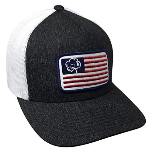 Heritage Pride American Cotton Boll Flag Trucker Mesh Snapback Hat  Black Heather White Mesh