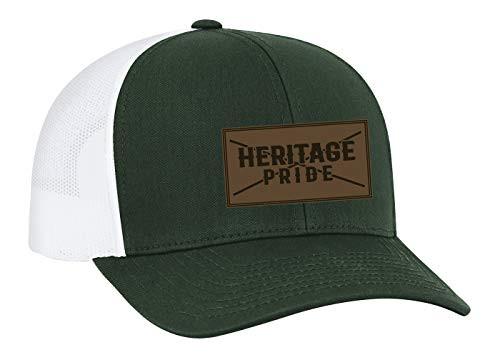 Heritage Pride Leather Patch Trucker Snapback Hat Dark Green White Mesh
