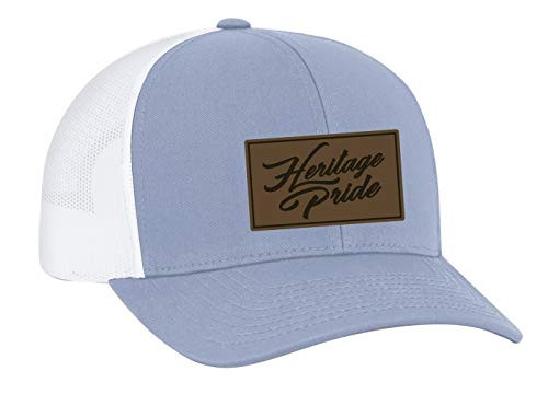 Heritage Pride Script Leather Patch Trucker Snapback Hat Columbia Blue White Mesh
