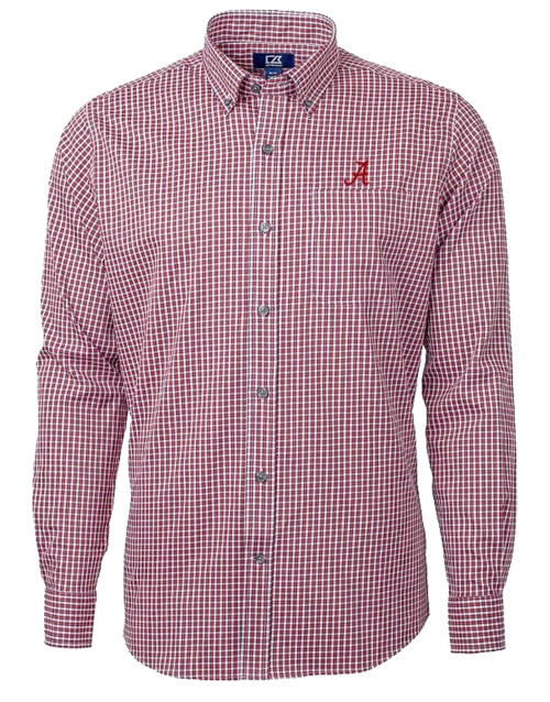 Cutter & Buck NCAA University of Alabama Crimson Tide Men's Versatech Multi Check Stretch Long Sleeve Dress Shirt