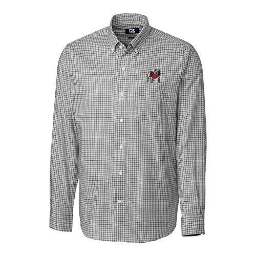 Cutter & Buck UGA Dawg Lakewood Check Long Sleeve Dress Shirt Black