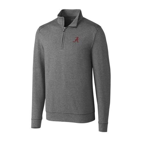 Cutter & Buck NCAA University of Alabama Crimson Tide Shoreline Heathered Quarter Zip Men's Pullover