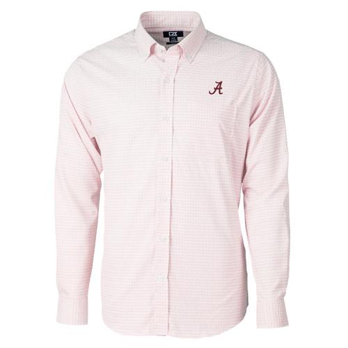 Cutter & Buck NCAA University of Alabama Crimson Tide Men's Versatech Tattersall Stretch Long Sleeve Dress Shirt