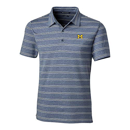 Cutter & Buck Michigan Wolverines Forge Polo Heather Stripe Tailored Fit
