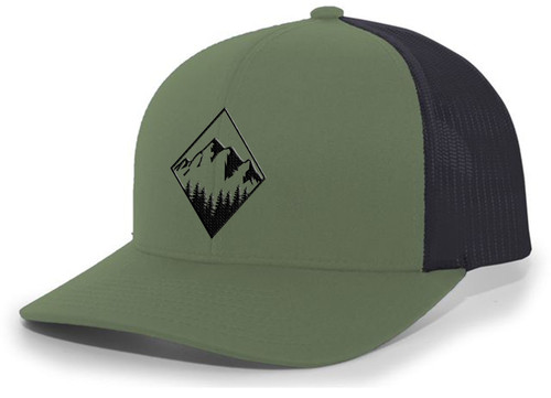 Men's Retro Geometric Diamond Mountain Outdoors Woodland Embroidered Mesh Back Trucker Hat