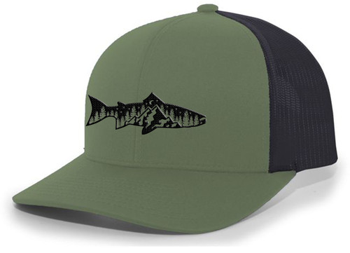 Men's Outdoors Fishing Trout Scenic Forest Woodland Embroidered Mesh Back Trucker Hat