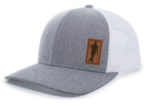 Men's Golfer Drinking Beer Bottle Golf Course Laser Engraved Leather Patch Mesh Back Trucker Hat