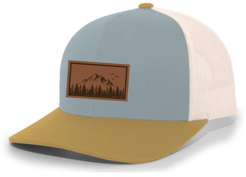 Mountain Scene Tamarak Pine Forest Laser Engraved Leather Patch Mesh Back Trucker Hat