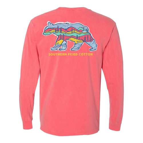 Southern Fried Cotton Big Bear Scenic View Adult Unisex Comfort Colors Long Sleeve Pocket T-Shirt