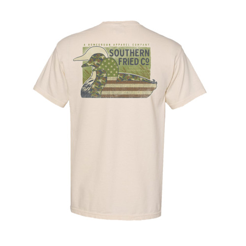 Southern Fried Cotton Duck Silhouettes Camo American Flag Adult Unisex Comfort Colors Short Sleeve Pocket T-Shirt