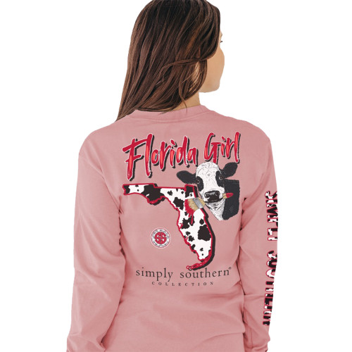 Simply Southern Women's Florida Girl Cow Print State Outline Long Sleeve T-Shirt