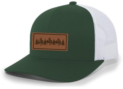 Tamarack Trees Forest Pine Woods Men's Laser Engraved Leather Patch Mesh Back Trucker Hat