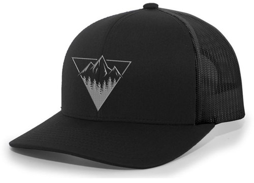 Men's Retro Geometric Triangle Mountain Outdoors Woodland Embroidered Mesh Back Trucker Hat