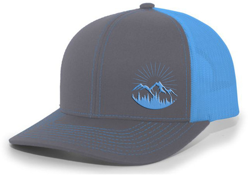 Men's Scenic Mountain Outdoors Woodland Embroidered Mesh Back Trucker Hat