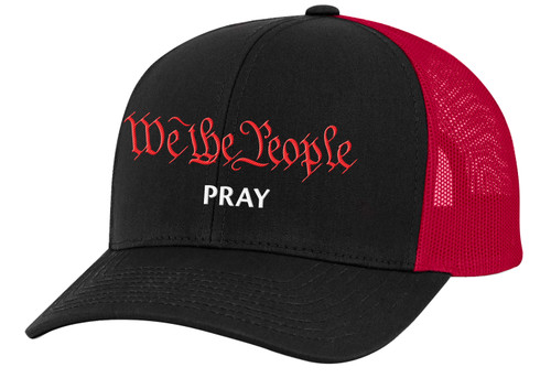 Men's We The People Pray Patriotic Christian Embroidered Mesh Back Trucker Hat