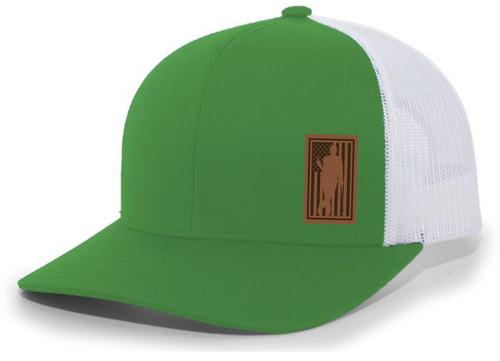 Golfer Drinking Beer Bottle American Flag Background Laser Engraved Leather Patch Mesh Back Trucker Hat