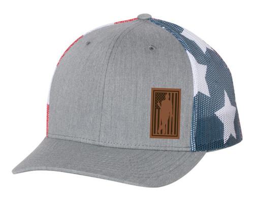 Men's Golfer Drinking Beer Bottle American Flag Fill Laser Engraved Leather Patch Mesh Back Trucker Hat