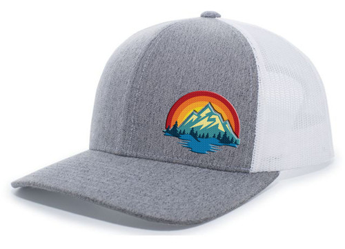 Men's Retro Colorful Scenic Mountain Outdoors Woodland Embroidered Mesh Back Trucker Hat