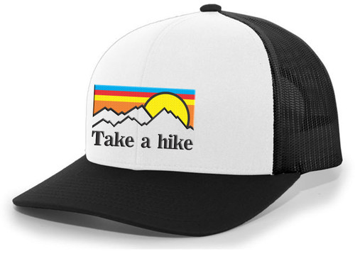 Men's Take A Hike Layered Sunset Retro Mountain Forest Embroidered Mesh Back Trucker Hat