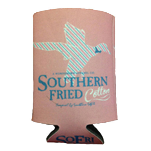 Southern Fried Cotton Pink Striped Duck Koozie