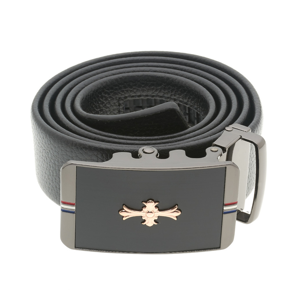 RS&A CROSS & CROWN MEN'S 100% LEATHER BELT #:05C106
