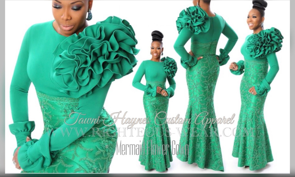 TAWNI HAYNES CUSTOM MERMAID FLOWER GOWN