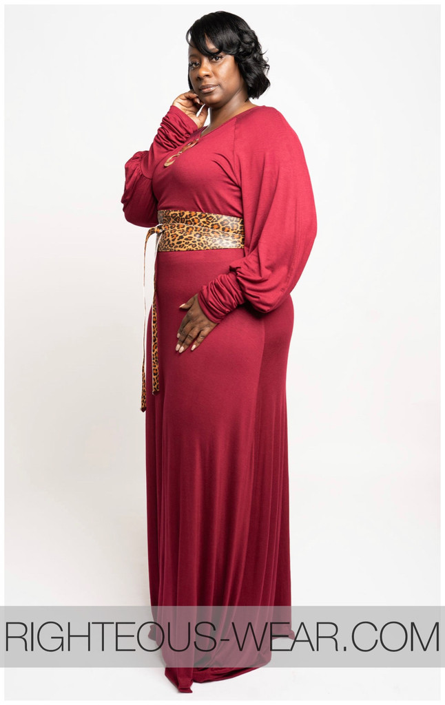 Slouch Sleeve Long Maxi Dress