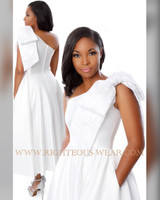 TAWNI HAYNES CUSTOM ASYMMETRICAL ONE SHOULDER BOW GOWN