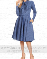 DENIM PRINT SASHY DRESS