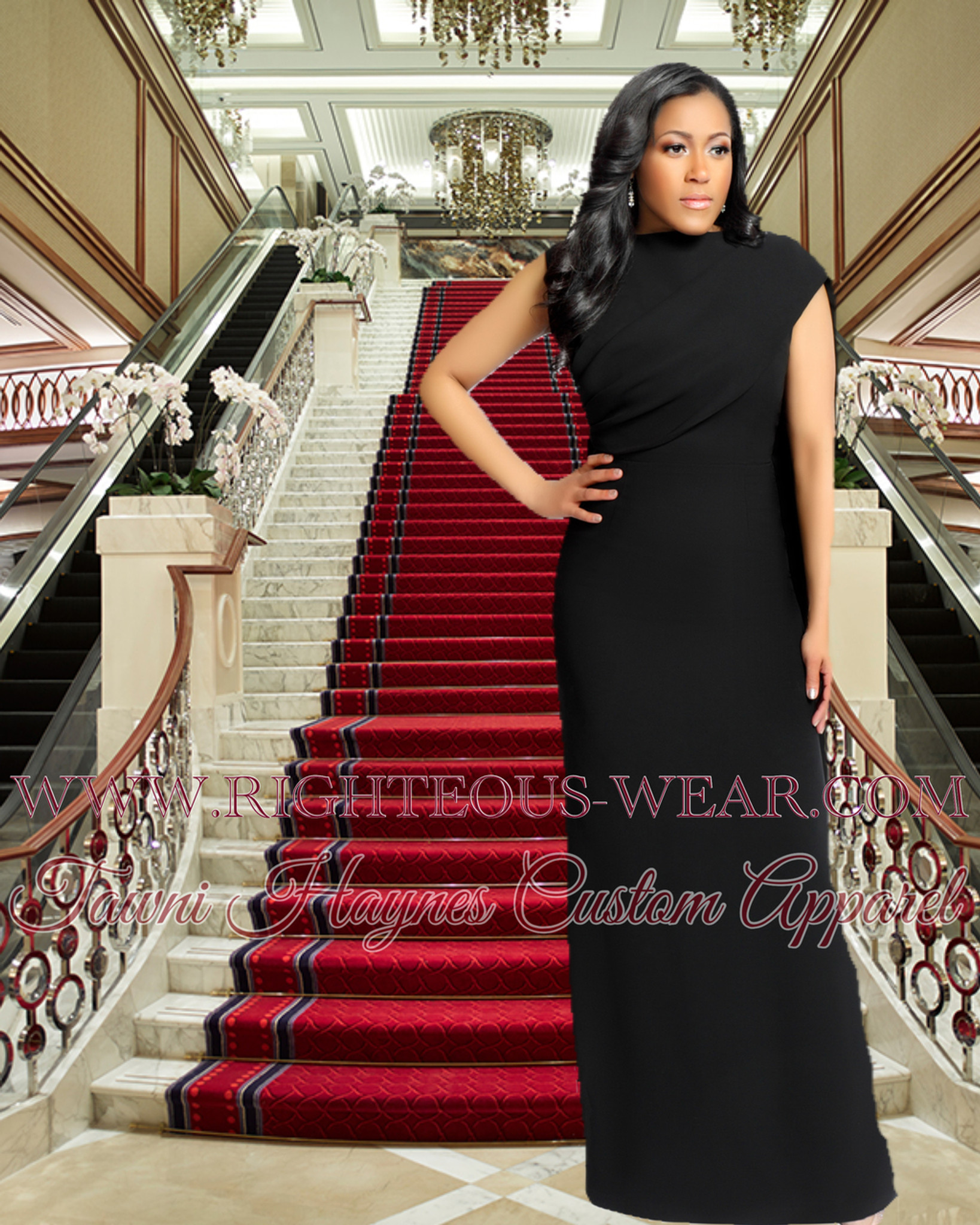 0547e3c068a43 TAWNI HAYNES SLEEVELESS CAPE GOWN - Righteous Shoes & Apparel