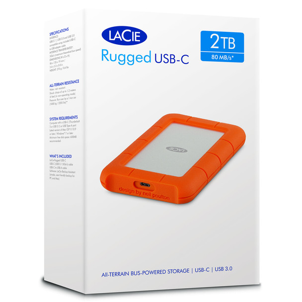 LACIE 2TB Rugged USB-C 3600RPM Portable Drive (STFR2000800)