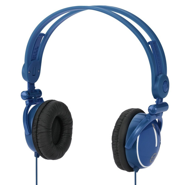 Kidz Gear Wired Travel Headphones with Fold Flat Design for Kids - Blue