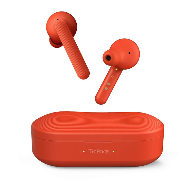TicPods Free True Wireless Bluetooth Earbuds with Clear Crisp Audio and Charging case (Lava)