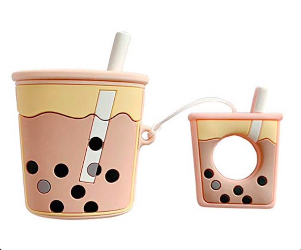 Pink Bubble Tea Case for Apple Airpods - Ultra Thick Soft Silicone