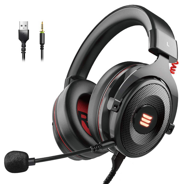 EKSA E900 PRO Gaming Headset  with 7.1 Surround Sound,  Noise Cancelling Over Ear Headphones with Mic & LED Light, Compatible with Mac/ PC, PS4, Xbox One Controller, Nintendo Switch
