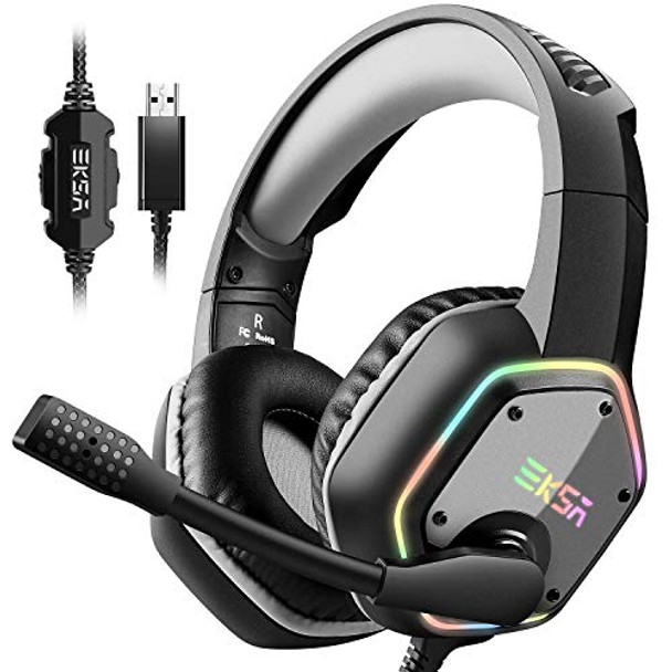 EKSA E1000 Gaming Headset with 7.1 Surround Sound Stereo, USB Headphones with Noise Canceling Mic & Light, PC/Mac Compatible , PS4 (Gray)