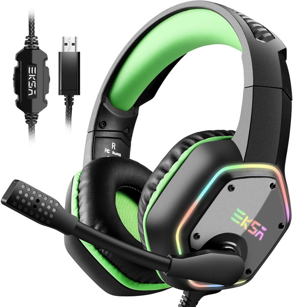 EKSA E1000 Gaming Headset with 7.1 Surround Sound Stereo, USB Headphones with Noise Canceling Mic & Light, PC/Mac Compatible , PS4 (Green)