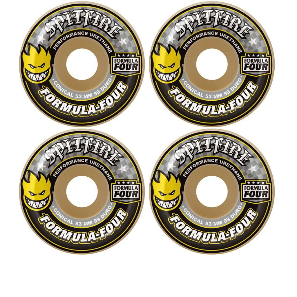 Spitfire - F4 99 Conical Yellow Print 52mm Skate FTC Skateboarding