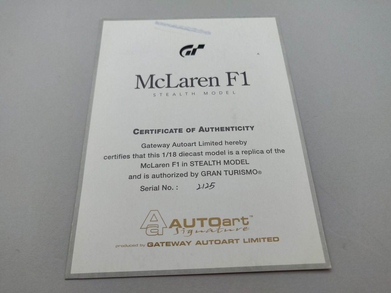 McLaren F1 Carbon Gran Turismo Black - Certificate