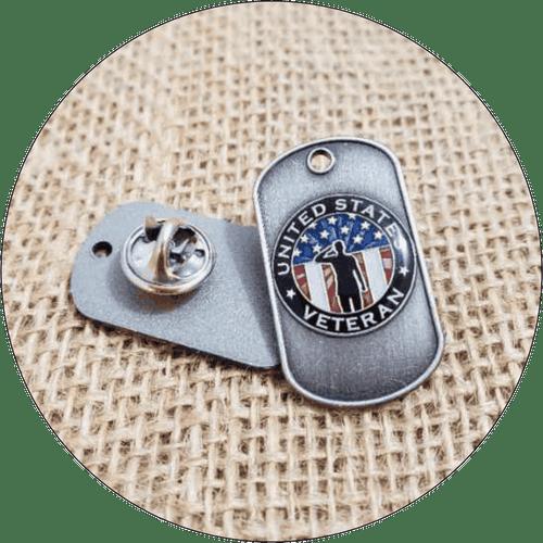 Veteran USA Dog Tag Lapel Pin