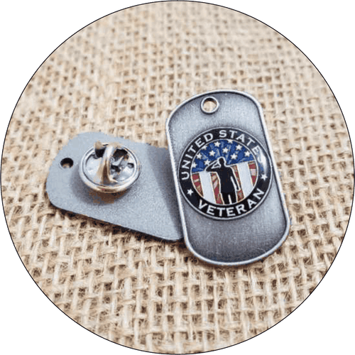 Veteran USA Dog Tag Lapel Pin