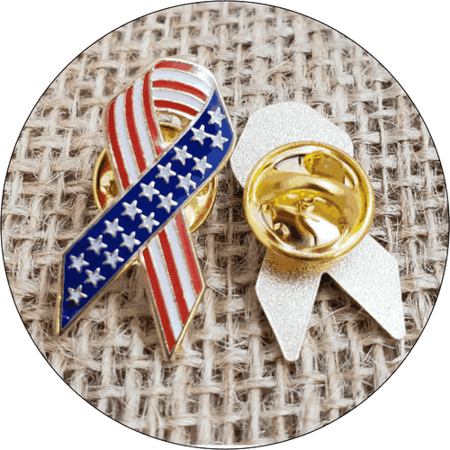 American Flag Awareness Ribbon Lapel Pin