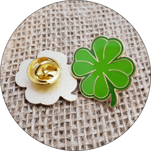 Luck of the Irish! Shamrock Pin with Military Clutch back.  This lucky Clover Pin is a high quality piece sure to make a great impression. Each piece is struck into high grade brass, filled with jewelry quality hard enamel and then hand polished. The finish is glassy and the colors are vibrant and bright. Each piece is plated in 24kt gold.  It also includes a standard clutch back for a secure hold and comes individually poly bagged. No Minimums