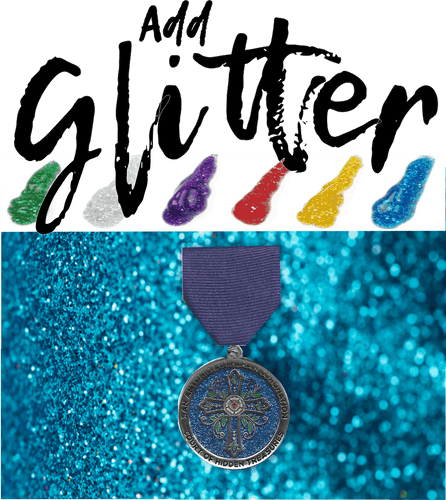 Glitter can be added to any medal or lapel pin. No additional cost if used a one of the included number of colors
