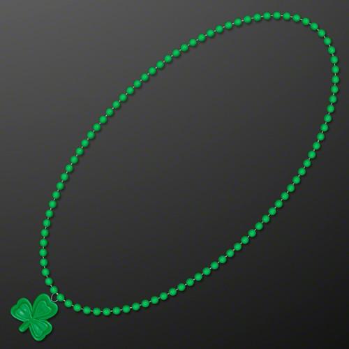 Small Shamrock Medallion on Green Bead Necklace