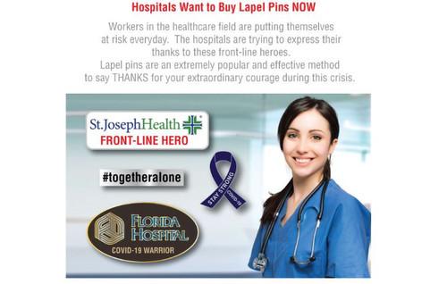 Hospital lapel Pins- Frontline Heroes- Covid Warriors