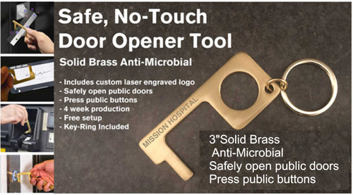 Brass No-Touch Door Opener Tool Key Chain