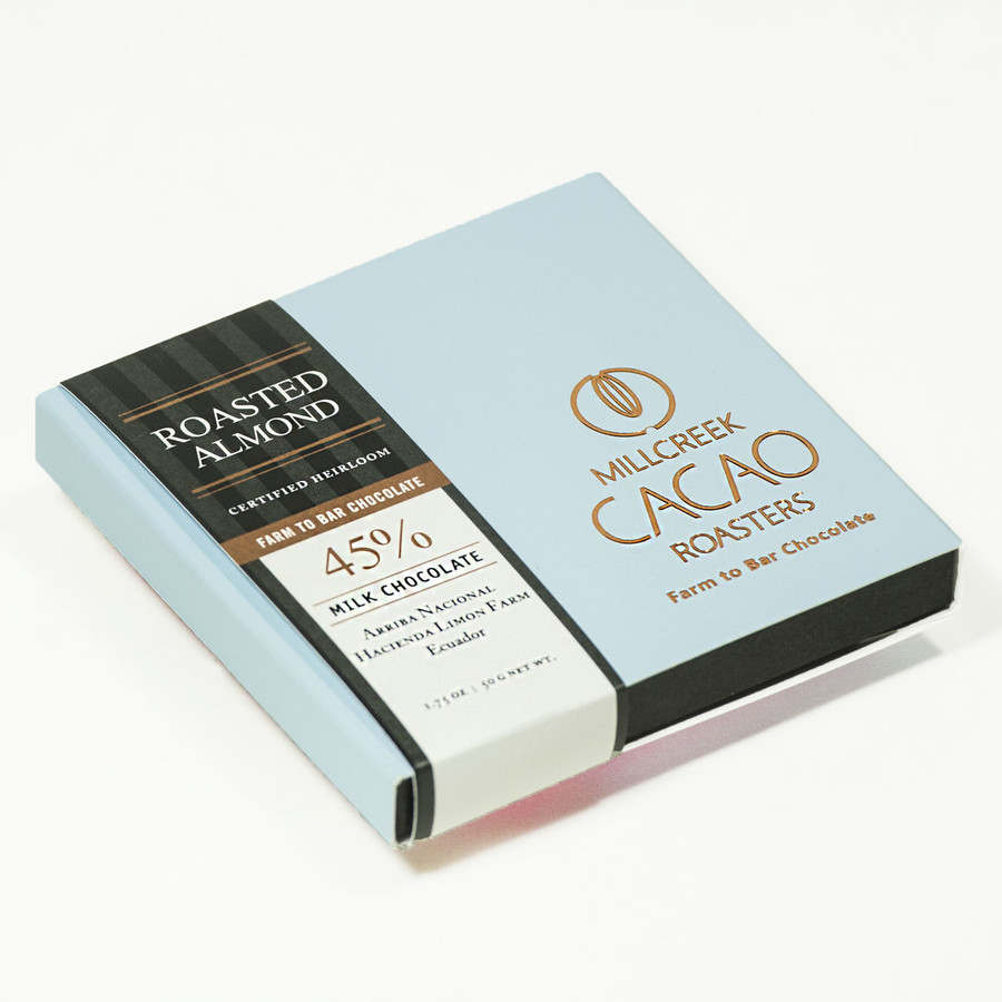 Arriba Milk Chocolate Roasted Almonds 45% Cacao Bar - Heirloom Certified