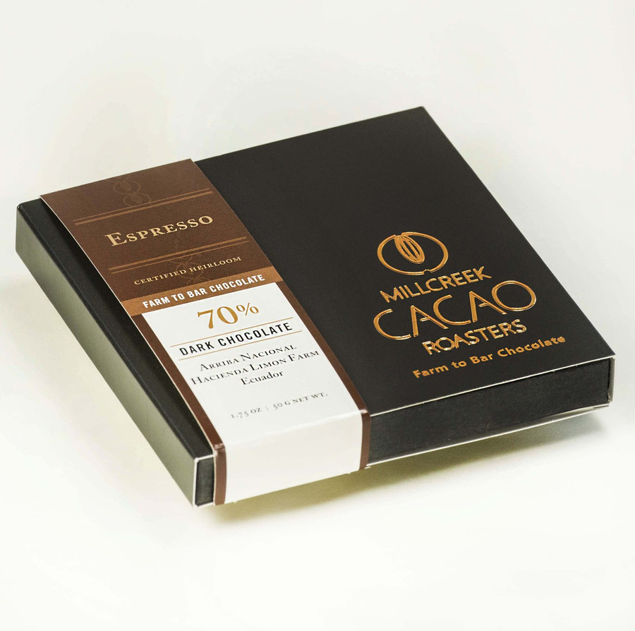 Arriba Espresso 70% Dark Cacao Bar - Heirloom Certified